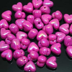 Beads, Acrylic, Magenta, Heart shape, 10mm x 10mm x 6mm, 25 Beads, (SLZ0111)